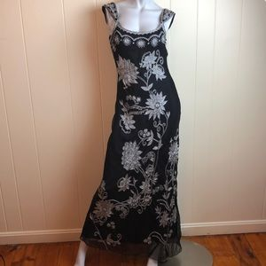 Adrianna Papell Black Silver Silk Party Dress
